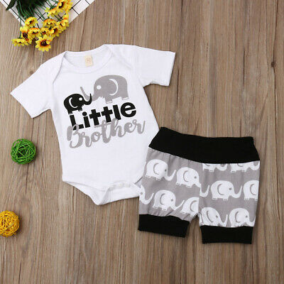 US Newborn Baby Boy Clothes Little Brother Romper Elephant Shorts Outfit Sunsuit