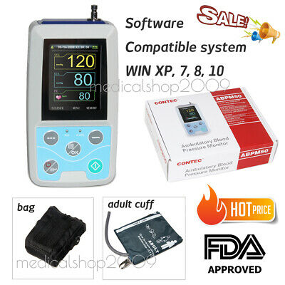 Ambulatory Blood Pressure Monitor NIBP Holter ABPM50 USB Software 24 Hours spo2