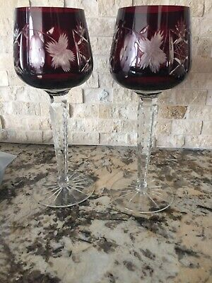 """Vintage Ruby Red Cut to Clear Glass Wine Goblets Made In Poland 8.75"""" Tall NICE!"""