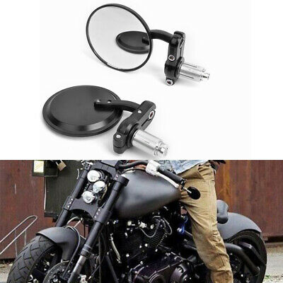 """Motorcycle Black Round 7/8"""" Handle Bar End Mirrors For Bobber Cafe Racer Clubman"""