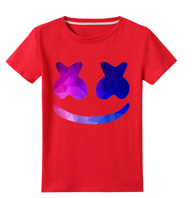 New Kids Marshmello DJ Music T-Shirt Game Gaming EDM Dance Festival Mask Tee Top