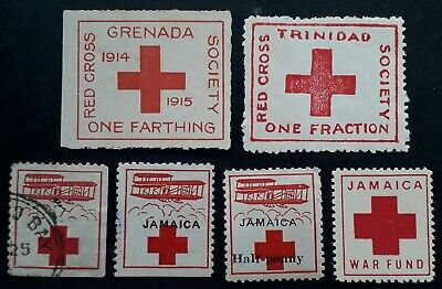 RARE c1915 Caribbean lot of 6 Red Cross Cinderella stamps Mint & Used