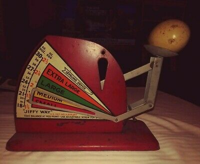 """Rare Antique """"jiffy Way"""" Metal Egg Weighing Scale-Leveling Device &reference Egg"""