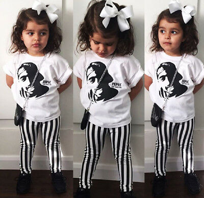 US Toddler Kids Baby Girl Tops T-Shirt Striped Pants 2PCS Outfits Clothes Summer