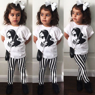 AU 2PCS Toddler Kids Baby Girl Summer Clothes Tops T-Shirt Striped Pants Outfits