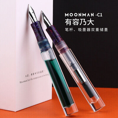 Moonman C1 Transparent Large-capacity Eyedropper Fountain Pen with A Converter