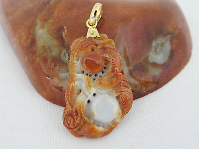 Vintage 14K Solid YG Natural Red White Jadeite Jade Carved Dragon Pendant