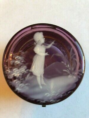 Antique Mary Gregory Amethyst Glass Round Trinket/Ring Box Enameled Girl Flowers