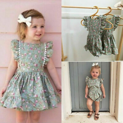AU Toddler Kids Baby Girl Clothes Sister Matching Floral Romper Dress Outfit Set