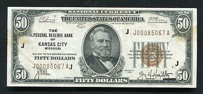 Fr.1880-J 1929 $50 Frbn Federal Reserve Bank Note Kansas City, Mo Extremely Fine