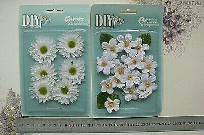 FABRIC Flowers WHITE 2 Style - 6 Gerbera or 24 Cherry Blossom Choice Petaloo VTS