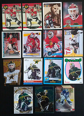 GREAT LOT of 10 ED BELFOUR HOCKEY CARDS  includes his ROOKIE CARD!!!