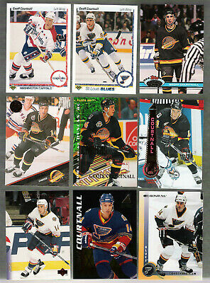 GREAT LOT of 10 GEOFF COURTNALL HOCKEY CARDS  includes his ROOKIE CARD!!!