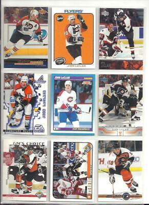 GREAT LOT of 10 JOHN LECLAIR HOCKEY CARDS  includes his ROOKIE CARD!!!