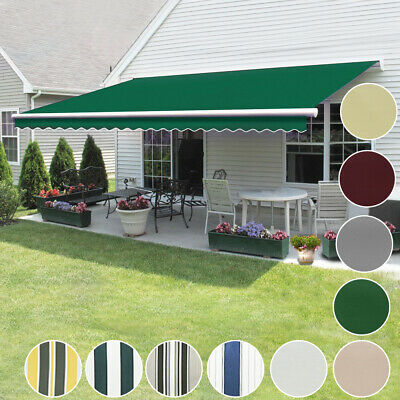 Manual Awning Canopy Outdoor Patio Garden Sun Shade Retractable Fabric Shelter