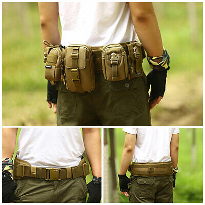 Tactical MOLLE PALS Modular Nylon Padded Gear Battle Outer Belt Black/Dark Brown