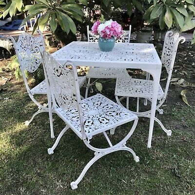 Vintage French Lace Louis Style Outdoor Dining Suite~Chairs~Cast Metal~Patio Set