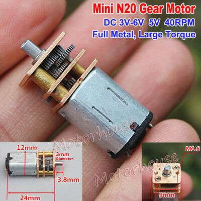 DC 3V-6V 5V 40RPM Mini N20 Full Metal Gear Motor Slow Speed Large Torque DIY Car