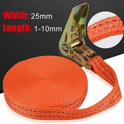 25mm Ratchet Straps Tie Down 1-10m Long Thicken Heavy Duty Lorry Cargo Lashing