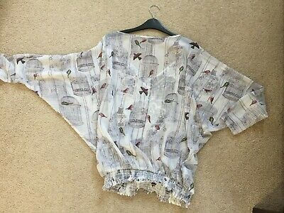 Ted Baker Bird Print top with lace size 0 - RRP £120