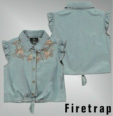 Girls Firetrap Short Sleeves Embroidered Shirt Top Sizes Age from 4 to 13 Yrs