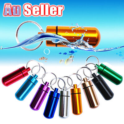 Stash Case Pill Box Bottle Container Waterproof 1 X Aluminum Keyring