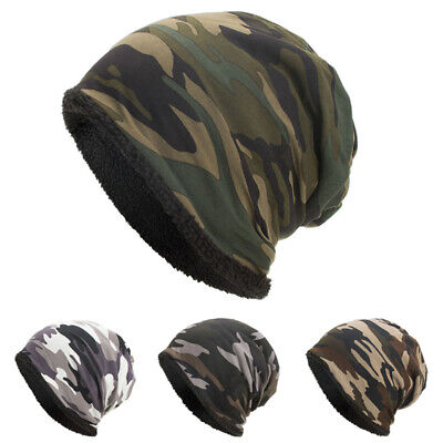 New Men Outdoor Camouflage Plush Cap Beanie Hat Wool Hat Winter Warm Fashion