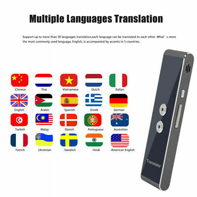 Smart Voice Translator Portable 2-Way Real Time Multi-Language Translation Gray