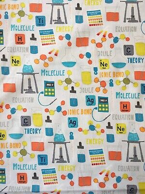 Monster Lab 4435 White Chemistry Science Themed Cotton Fabric By The Half Metre
