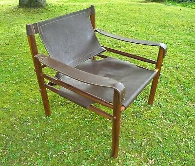 ARNE NORELL VINTAGE SIROCCO SAFARI CHAIR ROSEWOOD AND BROWN LEATHER 1960s VGC