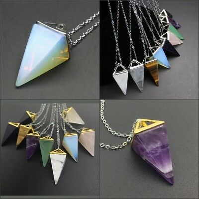 Natural Amethyst Gemstones Pyramid Pointed Reiki Chakra Pendant Silver Necklace
