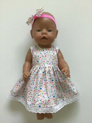 """DOLLS CLOTHES FOR 17"""" BABY BORN~CABBAGE PATCH *Colourful Daisies~Dress~Headband*"""