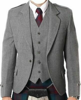 100% WOOL Argyle kilt Jacket & Waistcoat/Vest, Scottish Argyle Jacket Light Grey