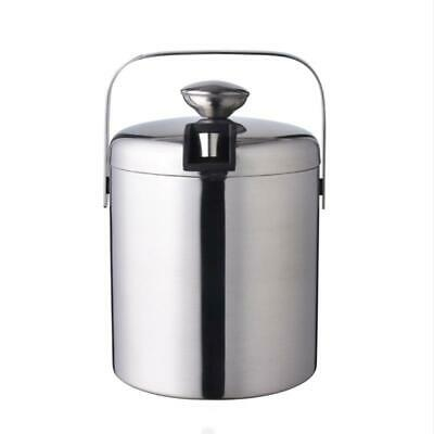 8Y7Q Ice Handle Bucket Wine Stainless Steel Bucket Lid Portable Double-layer