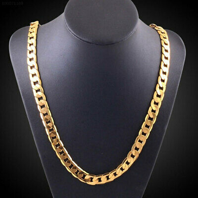 """557C Hipster Curb Chain Men'S Necklace 18k Yellow Gold 20 """"(50cm) Jewelry Gifts"""