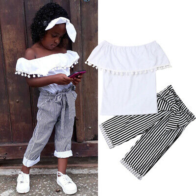 AU Toddler Baby Girl Clothes Off-Shoulder Tops+Stripe Pants 2PCS Outfit Summer