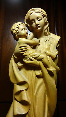 """16"""" Vintage Hand Carved Wooden Our Lady Virgin Mary Madonna & Jesus Wall Statue"""