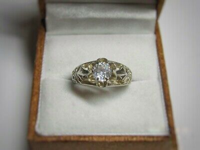 Beautiful So Shining USSR Ring with FIANITE Silver 875 Soviet Antique Size 7.5