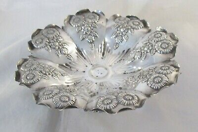 A Vintage Silver Plated Dish or Comport - Embossed Flowers