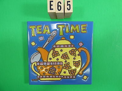"Ceramic Art Tile 6""x6"" tea Time colorful teapot tea cup hand painted trivet E65"