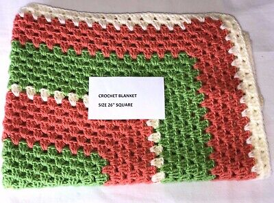 Cream, Green and Orange Multi Crochet Blanket