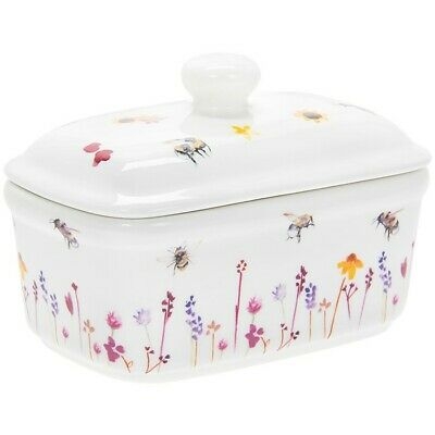 New Busy Bees & Meadow Flowers Ceramic Lidded Butter Dish