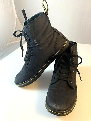 b59f0e96aca DR MARTENS SHOREDITCH Black Canvas Ankle Boots Women's Sz 6 Air Wair 7 Eye  Doc