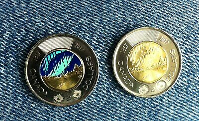 2017 Canada  $2   *2 Coin Set* One Each Glow In The Dark & Regular 150 Years