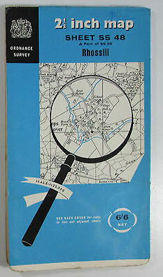 1960 old vintage OS Ordnance Survey 1:25000 First Series Map SS 48 Rhossili