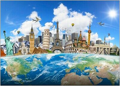 World Map Famous Landmarks Large Poster Art Print A0 A1 A2 A3 A4 Maxi
