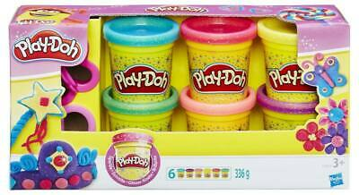 HASBRO Play-Doh Sparkle 6 Jars Pasta Game Mouldable Stationery 851