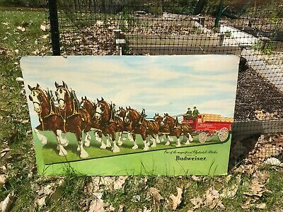 OLD VINTAGE ANHEUSER BUSCH BUDWEISER SIGN BEER BREWERY BREWING Clydesdale Horses