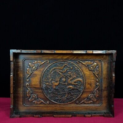 """13"""" Chinese old antique huanghuali Wood handcarved Dragon and Phoenix plate"""