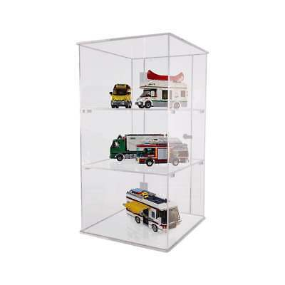 Clear Acrylic Lockable Counter Top Display Case with Door - 2 Removable Shelves